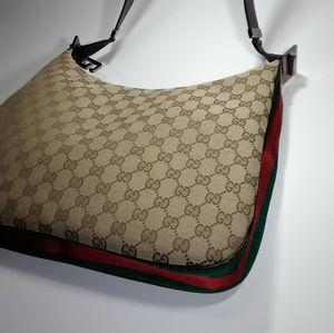 Gucci Web GG Canvas G Clasp Shoulder Bag